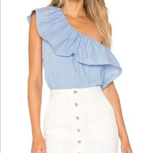 One Shoulder Ruffle Top in Liberty Blue - Large